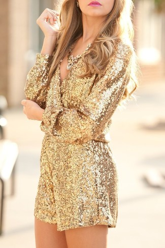 Women's Gold Sequin Playsuit, Gold Necklace