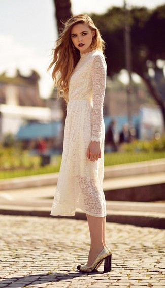 How to wear: gold sequin pumps, white lace midi dress