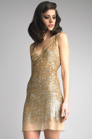 Women's Gold Sequin Tank Dress