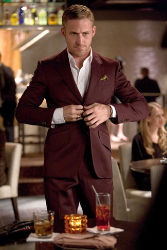 How to wear: gold silk pocket square, white dress shirt, burgundy suit