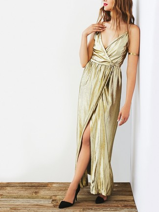 Women's Gold Slit Maxi Dress, Black Suede Pumps, Gold Bracelet