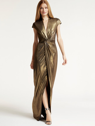 Women's Gold Slit Maxi Dress, Silver Leather Heeled Sandals