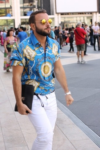 How to wear: silver watch, gold sunglasses, white jeans, blue print short sleeve shirt