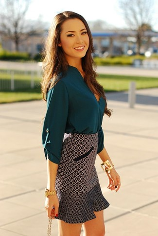 How to wear: gold bracelet, gold watch, black and white geometric mini skirt, teal silk long sleeve blouse