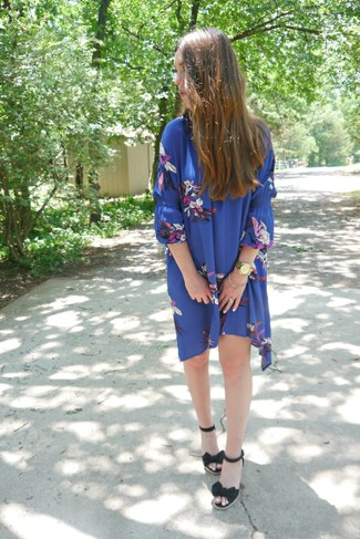 How to wear: gold watch, black canvas wedge sandals, blue floral swing dress