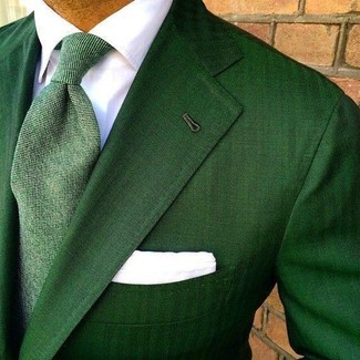 How to wear: green blazer, white dress shirt, green tie, white pocket square