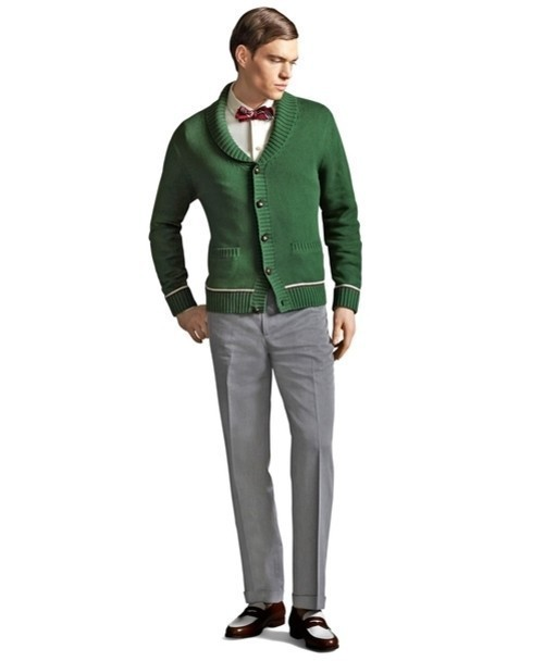 Men's Green Cardigan, White Long Sleeve Shirt, Grey Dress Pants ...