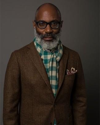 How to wear: green check scarf, burgundy print pocket square, dark brown herringbone wool blazer