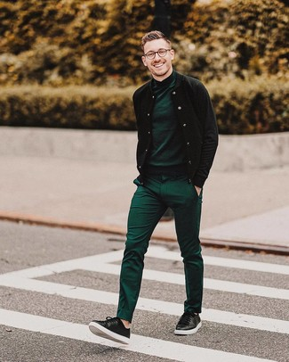 How to wear: black leather low top sneakers, green dress pants, dark green turtleneck, black bomber jacket