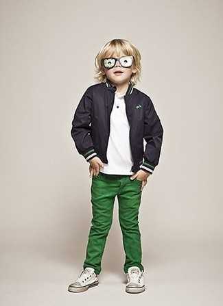 How to wear: white sneakers, green jeans, white t-shirt, black bomber jacket