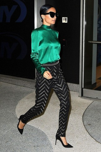 How to wear: green silk long sleeve blouse, black and white chevron skinny pants, black suede pumps, black sunglasses