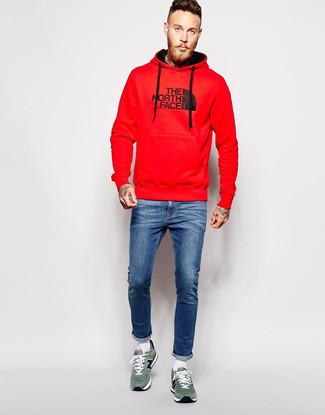 How to wear: white socks, green suede low top sneakers, blue skinny jeans, red print hoodie