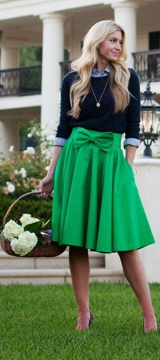 How to wear: gold pendant, green pleated midi skirt, grey dress shirt, black crew-neck sweater