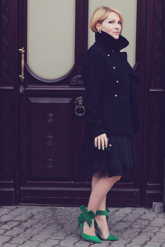 How to wear: black leather clutch, green suede pumps, black chiffon party dress, black pea coat