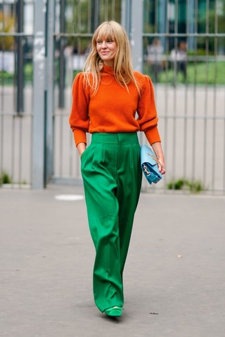 How to wear: light blue leather clutch, green suede pumps, green wide leg pants, orange turtleneck