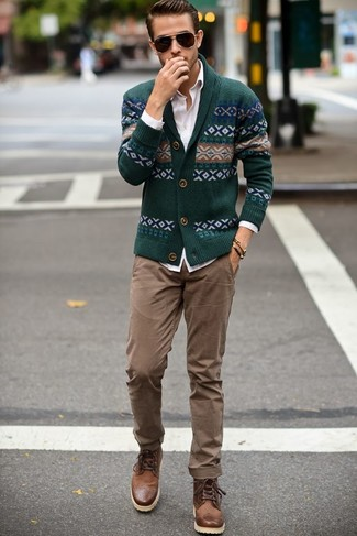 Men's Green Fair Isle Shawl Cardigan, White Dress Shirt, Khaki Chinos, Brown Leather Boots