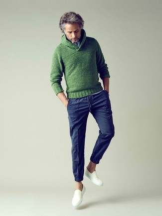 How to wear: green knit shawl-neck sweater, white henley shirt, navy chinos, white canvas slip-on sneakers