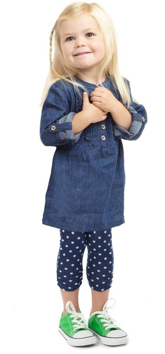 Girls' Green Sneakers, Navy Polka Dot Leggings, Navy Denim Dress