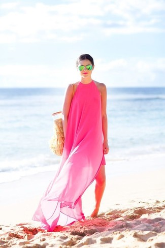 How to wear: green sunglasses, tan crochet tote bag, hot pink chiffon maxi dress