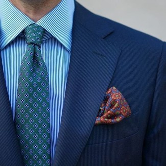 How to wear: multi colored print pocket square, green floral tie, aquamarine vertical striped dress shirt, blue vertical striped blazer