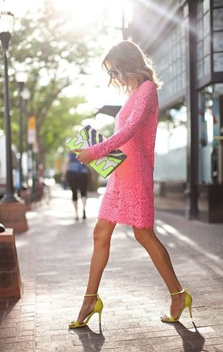 How to wear: black sunglasses, green-yellow print leather clutch, green-yellow suede heeled sandals, hot pink lace shift dress