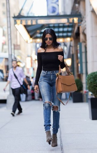 How to wear: tan leather satchel bag, grey suede ankle boots, blue ripped jeans, black off shoulder top
