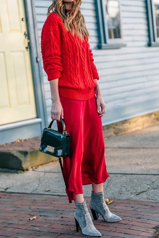 How to wear: black leather crossbody bag, grey elastic ankle boots, red silk cami dress, red knit oversized sweater