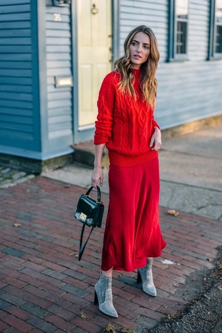 How to wear: black leather crossbody bag, grey suede ankle boots, red midi skirt, red knit turtleneck