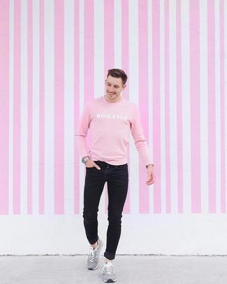 Men's Silver Watch, Grey Suede Athletic Shoes, Black Skinny Jeans, Pink Print Sweatshirt