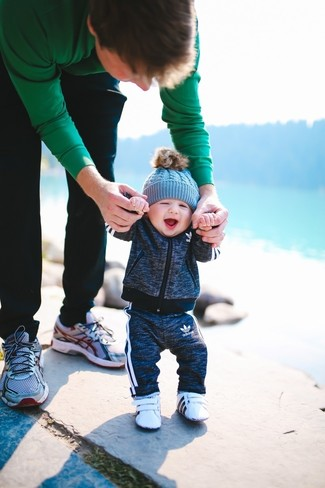 Boys' Looks & Outfits: What To Wear In a Relaxed Way: Your child will look uber cute in a charcoal track suit. This look is complemented well with white sneakers.