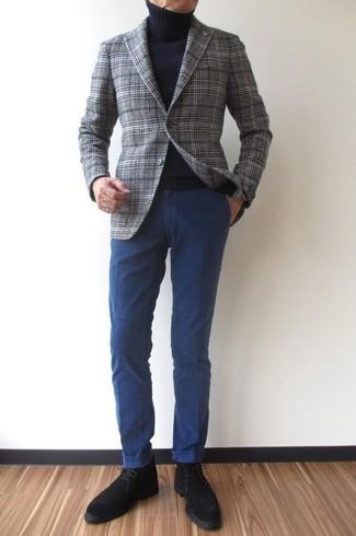 How to wear: grey plaid wool blazer, black turtleneck, navy chinos, black suede desert boots