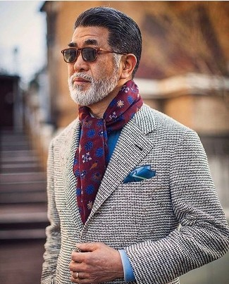 How to wear: grey knit blazer, blue dress shirt, blue silk pocket square, burgundy floral scarf