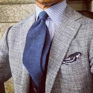 How to wear: grey tweed blazer, light blue vertical striped dress shirt, blue knit tie, white pocket square