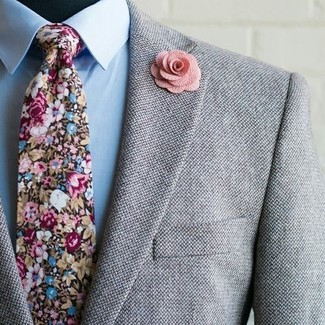 How to wear: grey wool blazer, light blue dress shirt, multi colored floral tie, pink floral lapel pin