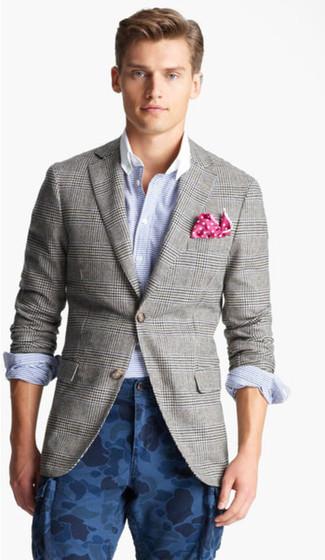 How to wear: grey plaid blazer, light blue horizontal striped long sleeve shirt, navy camouflage cargo pants, hot pink polka dot pocket square
