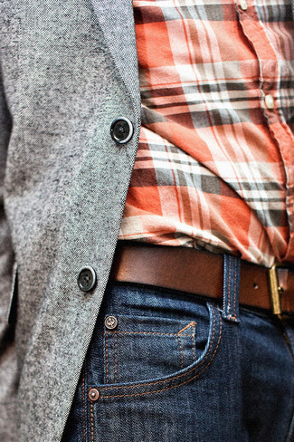 How to wear: grey blazer, orange plaid long sleeve shirt, navy jeans, brown leather belt