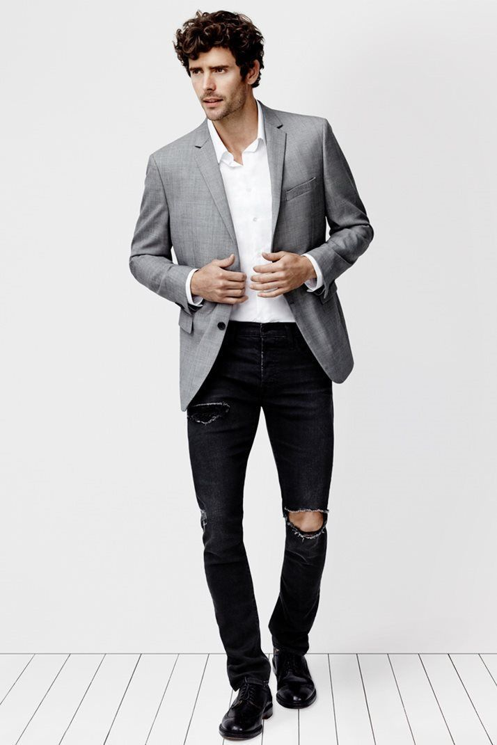 How To Wear a Grey Blazer With Black Jeans | Men's Fashion