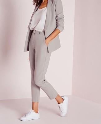 How to wear: grey blazer, white silk tank, grey skinny pants, white leather low top sneakers