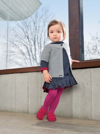 How to wear: grey cardigan, navy polka dot dress, hot pink loafers, hot pink tights