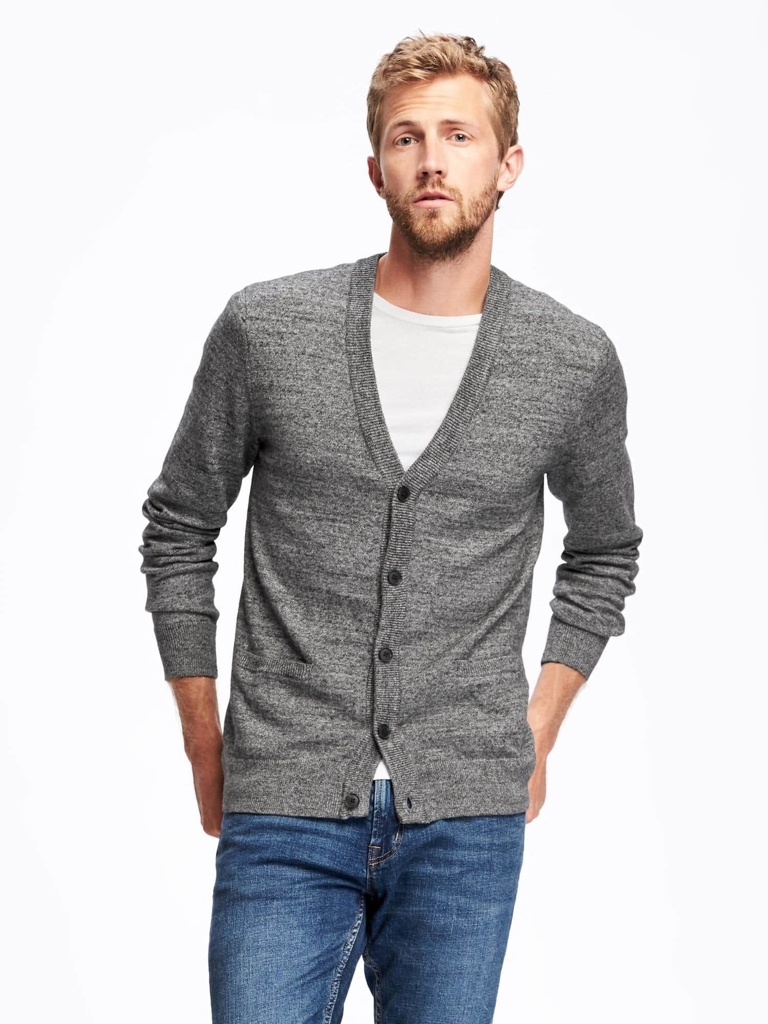 How To Wear a Grey Cardigan With a White Crew-neck T-shirt | Men's ...