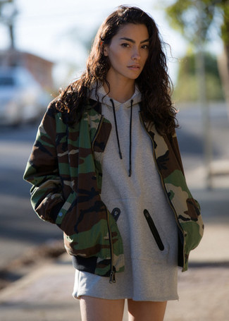 How to wear: grey casual dress, olive camouflage bomber jacket