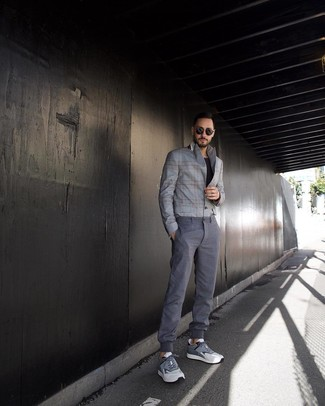 How to wear: grey athletic shoes, grey chinos, black crew-neck t-shirt, grey plaid blazer