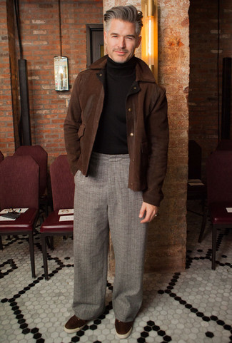 How to Wear a Dark Brown Suede Harrington Jacket: For something more on the casual end, try this combo of a dark brown suede harrington jacket and grey plaid chinos. Dark brown suede low top sneakers look right at home teamed with this ensemble.