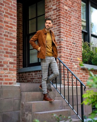 How to wear: brown leather casual boots, grey plaid chinos, mustard crew-neck sweater, tobacco suede bomber jacket