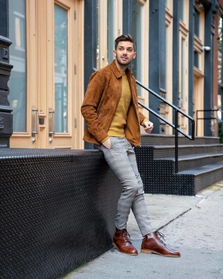 Men's Brown Leather Casual Boots, Grey Plaid Chinos, Mustard Crew-neck Sweater, Tobacco Suede Shirt Jacket