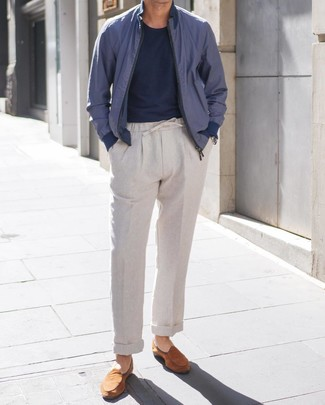 How to wear: tobacco suede loafers, grey linen chinos, navy crew-neck t-shirt, navy bomber jacket
