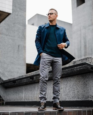 How to wear: black leather brogue boots, grey chinos, teal crew-neck sweater, navy raincoat