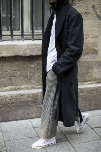 How to wear: white canvas high top sneakers, grey check chinos, white crew-neck t-shirt, black overcoat