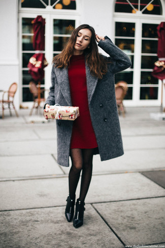 How to wear: grey coat, burgundy sweater dress, black leather ankle boots, black polka dot tights