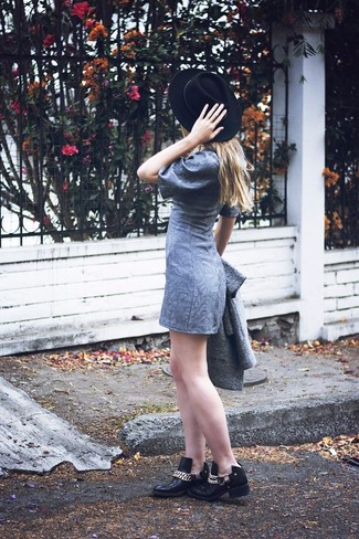 How to wear: grey coat, grey shift dress, black embellished leather ankle boots, black wool hat